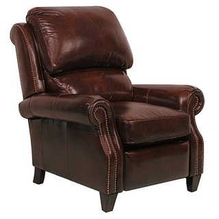 Churchill II Double Fudge Nail Head Trim Leather Recliner