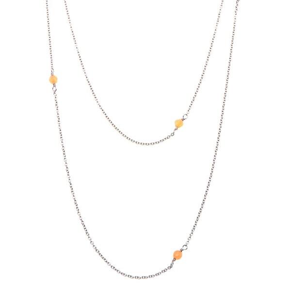 Carmen Stainless Steel Orange Agate Beaded Necklace