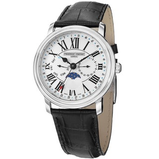 Frederique Constant Men's FC-270M4P6 'Business Time' White Dial Moon Phase Strap Watch