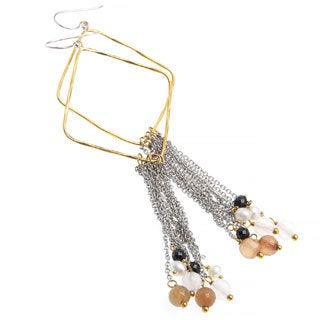 Zara Agate and Onxy Fringe Dangle Earrings