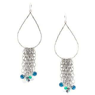 Capri Sterling Silver Peacock Agate Fringe Earrings
