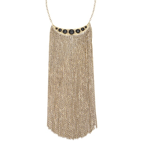 Ibiza Brass Black Resin Fringed Bib Necklace