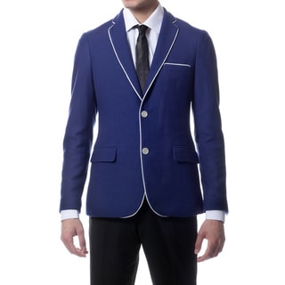 Zonettie by Ferrecci Men's Slim Fit Navy Blue Knit Traveler Blazer Jacket