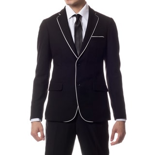 Zonettie by Ferrecci Men's Slim Fit Black Knit Traveler Blazer Jacket