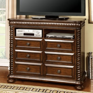 Furniture of America Dragia Brown Cherry Storage Media Chest