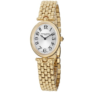 Frederique Constant Women's FC-200A2V5B 'Art Deco' Silver Dial Goldtone Stainless Steel Watch