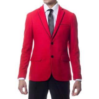 Zonettie by Ferrecci Men's Slim Fit Red Knit Traveler Blazer Jacket