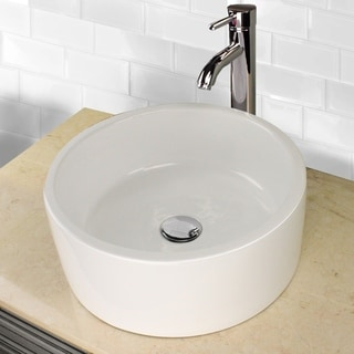 Highpoint Collection 16 inch Round White Vessel Sink with Faucet and Drain Combo