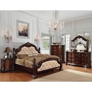Furniture of America Kassania Luxury 4-piece Leatherette Bedroom Set