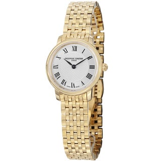 Frederique Constant Women's FC-200MCS5B 'Slim Line' Silver Dial Goldtone Stainless Steel Watch
