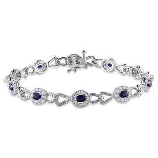 Miadora Sterling Silver Created Blue and White Sapphire Bracelet