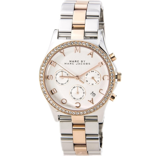 Marc Jacobs Women's MBM3106 Two-tone 'Henry' Crystal Accent Chronograph Watch