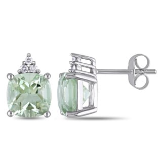 Miadora 10k White Gold 2 4/5ct TGW Green Amethyst and Diamond Accent Stud Earrings
