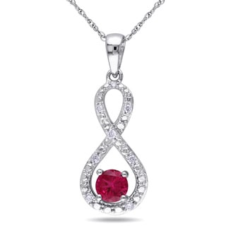 Miadora 10k White Gold Created Ruby and 1/10ct TDW Diamond Infinity Necklace (H-I, I2-I3)