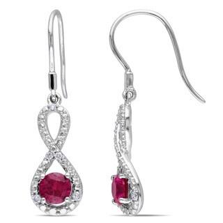 Miadora 10k White Gold Created Ruby and 1/10ct TDW Diamond Infinity Earrings (H-I, I2-I3)