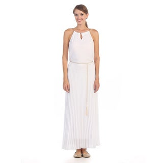 Hadari Women's White Goldtone Chained Pleated Halter Maxi Dress