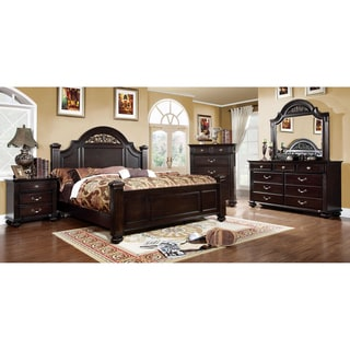 Furniture of america grande 4 piece dark walnut bedroom for American black walnut bedroom furniture