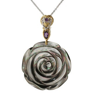 Michael Valitutti Two-tone Carved Mother of Pearl Flower and Amethyst Necklace