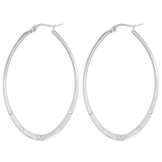 Elya Stainless Steel Gold tone Oval Cubic Zirconia Hoop Earrings