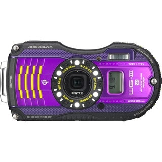 Pentax WG-3 Waterproof Purple Digital Camera with GPS Kit