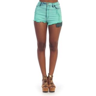 Hadari Women's Sage High Waist Cut Off Shorts