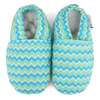 Chevron Soft Sole Leather Blue Baby Shoes