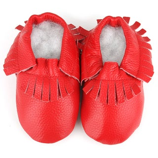 Fringe Soft Sole Leather Red Baby Shoes