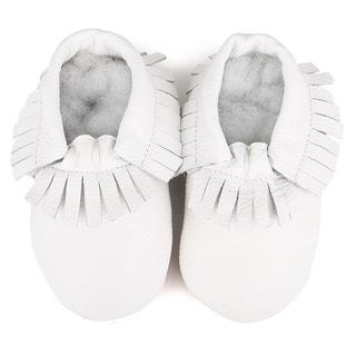 Fringe Soft Sole Leather White Baby Shoes
