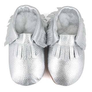Fringe Soft Sole Leather Silver Baby Shoes