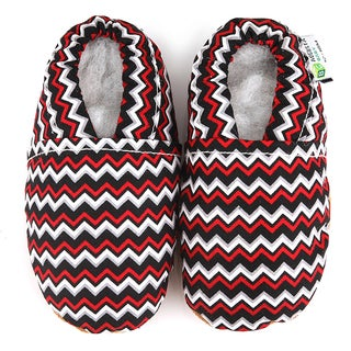 Chevron Soft Leather Sole Black and Red Baby Shoes