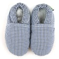Checkered Soft Leather Sole Blue Baby Shoes