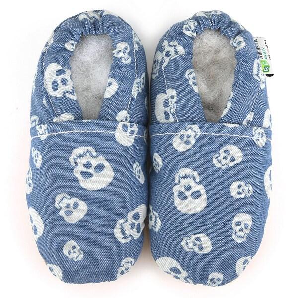 Denim Skulls Soft Leather Sole Blue Baby Shoes