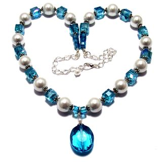 Aqua Crystal and White Glass Pearl 4-piece Jewelry Set