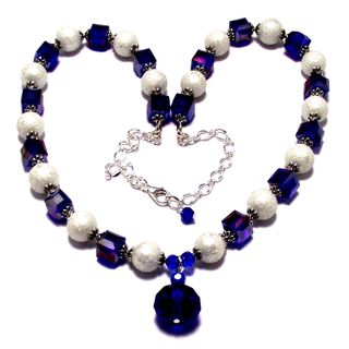 Dark Sapphire Crystal and White Moonscape Crystal Pearl 4-piece Jewelry Set