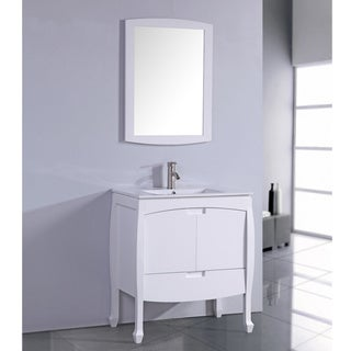 Ceramic Top 24-inch Sink White Bathroom Vanity with Matching Framed Mirror
