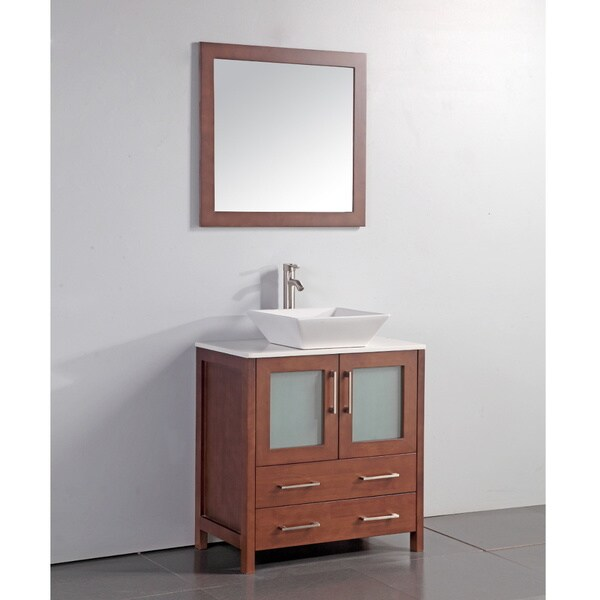 ... 24-inch Vessel Sink Cherry Bathroom Vanity and Matching Framed Mirror