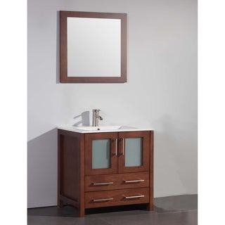 Ceramic Top 30-inch Sink Cherry Bathroom Vanity and Matching Framed Mirror