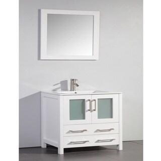 Ceramic top 36 inch sink white bathroom vanity and - Best prices for bathroom vanities ...