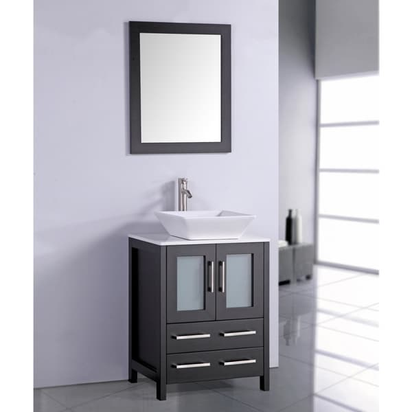 top 24 inch vessel sink espresso bathroom vanity and matching framed