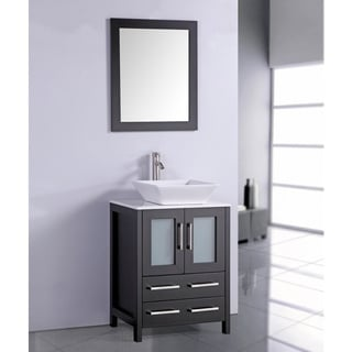 White Artificial Stone Top 24-inch Vessel Sink Espresso Bathroom Vanity and Matching Framed Mirror