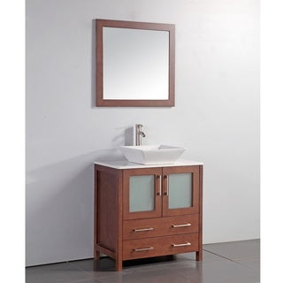 White Artificial Stone Top 30-inch Vessel Sink Cherry Bathroom Vanity and Matching Framed Mirror