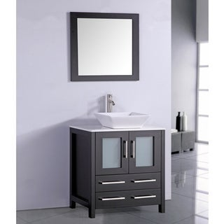 White Artificial Stone Top 30-inch Vessel Sink Espresso Bathroom Vanity and Matching Framed Mirror