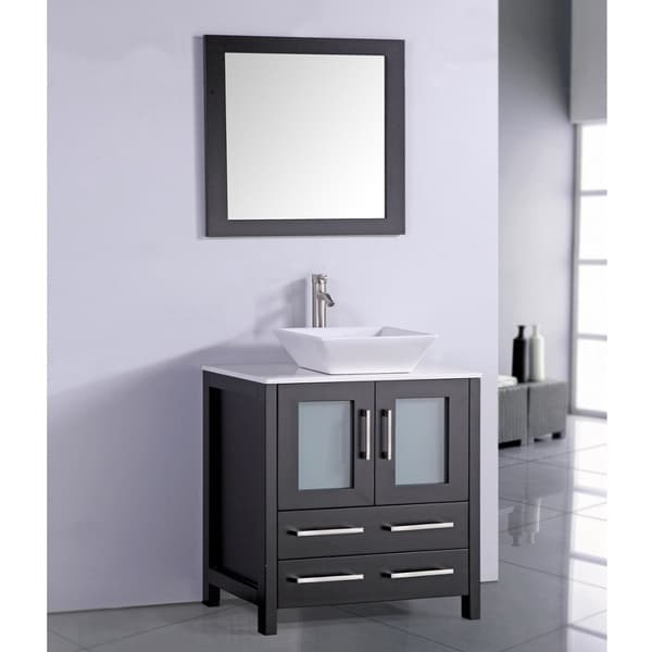 White Artificial Stone Top 30 Inch Vessel Sink Espresso Bathroom Vanity And Matching Framed Mirror