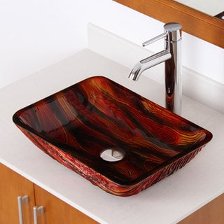 ELITE 1419 Lava Rock Rectangle Tempered Glass Bathroom Vessel Sink