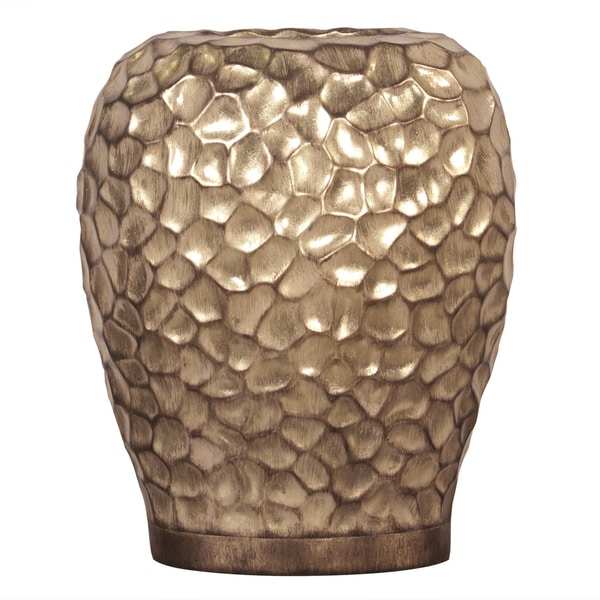 Wide Hammered Gold Resin Vase