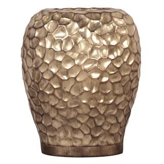 Wide Hammered Gold Resin Vase