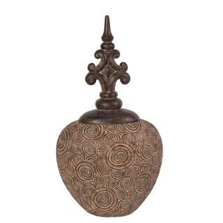18x11x31-inch Brown Classic Antique Scrolled Ceramic Urn