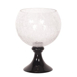Small Black Crackled Glass Fluted Footed Bowl