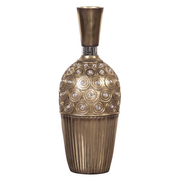 Small Gold Gem Studded Resin Vase
