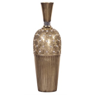 Tall Gold Gem Studded Resin Vase